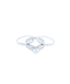 Tris Anelli fedina in argento 925% con zirconi bianchi-0