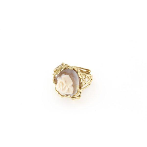 Anello regolabile traforato in argento 925% con cammeo sardonica rosa-0