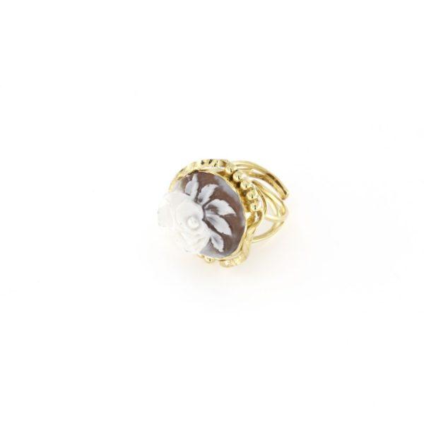 Anello regolabile traforato con cammeo sardonica in argento 925% rosa-0