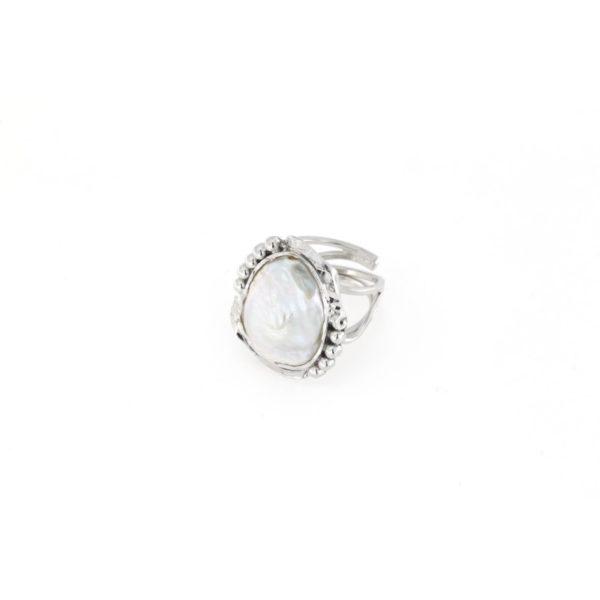 Anello regolabile traforato in argento 925% con perla d'acqua dolce-0