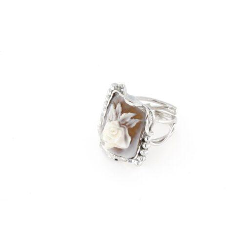 Anello regolabile in argento 925% e cammeo sardonica rosa-0