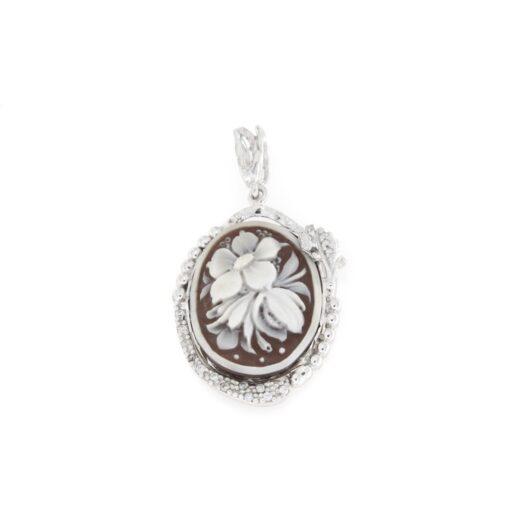 Ciondolo in argento 925% con cammeo sardonica fiori-0