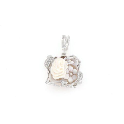 Ciondolo in argento 925% con cammeo sardonica rosafiore-0