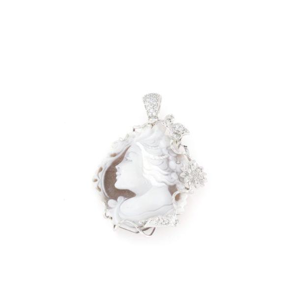 Ciondolo in argento 925% con cammeo sardonica volto-0