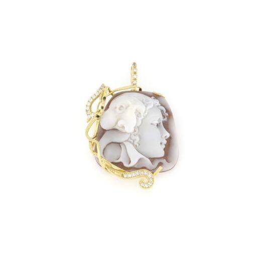 Ciondolo in argento 925% con cammeo sardonica pulcinella-0