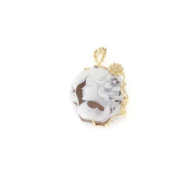 Ciondolo in argento 925% con cammeo sardonica volto luna-0
