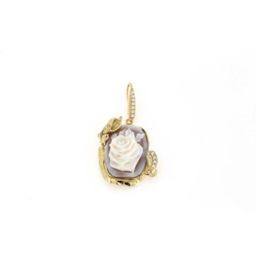 Ciondolo in argento 925% con cammeo sardonica in argento dorato-0