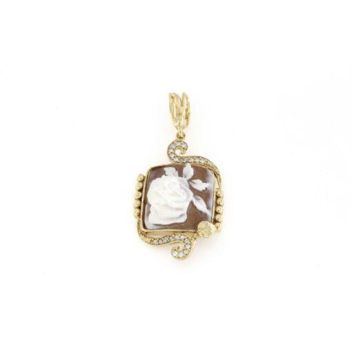 Ciondolo in argento 925% con cammeo sardonica rosa-0