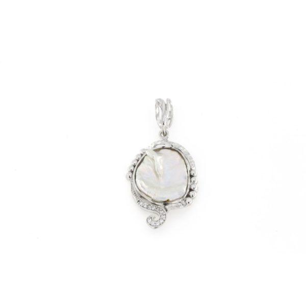 Ciondolo in argento 925% con cammeo sardonica perla-0