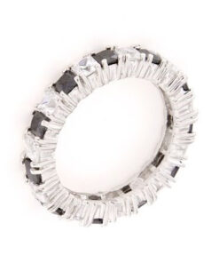 Anello fedina in argento 925% con zirconi colorati -0