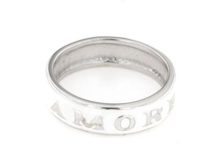 Anello smaltato bianco in argento 925% amore-0