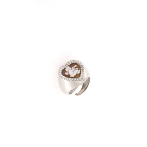 Anello regolabile cuore con cammeo sardonica in argento 925% puttino-0