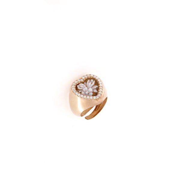 Anello cuore regolabile con cammeo sardonica in argento 925% fiore-0