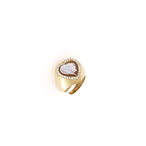 Anello cuore regolabile con cammeo sardonica in argento 925% volto-0