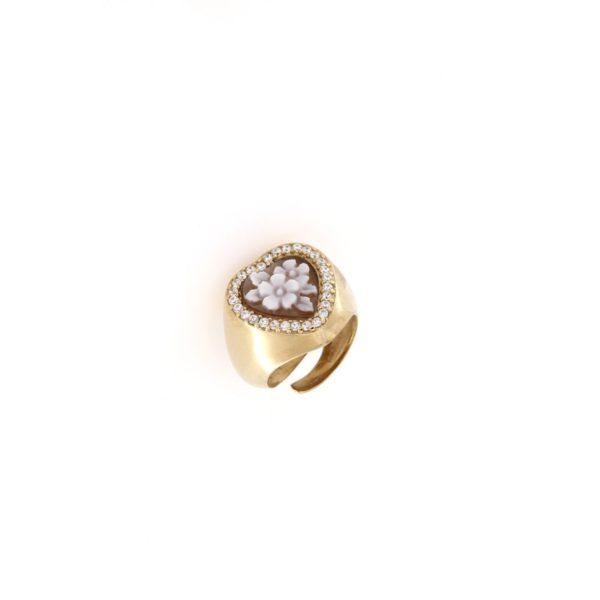 Anello regolabile cuore con cammeo sardonica in argento 925% fiore-0