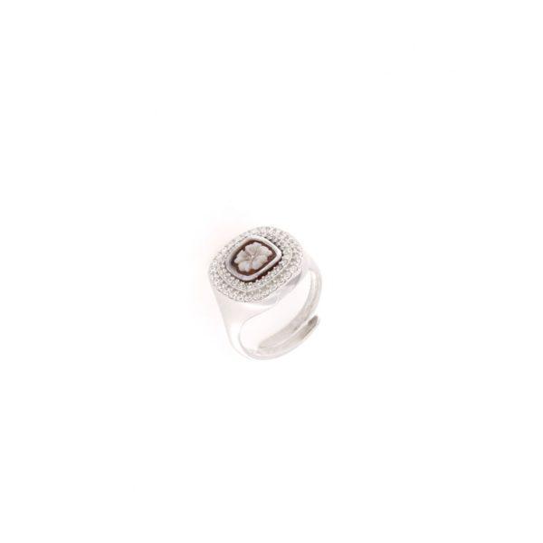 Anello regolabile quadrato con cammeo sardonica e svarovski in argento 925% fiore-0