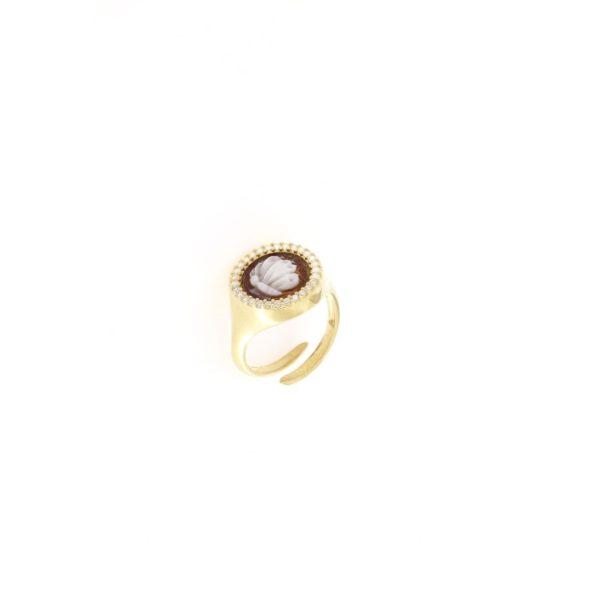 Anello regolabile con cammeo sardonica in argento 925% farfalla-0