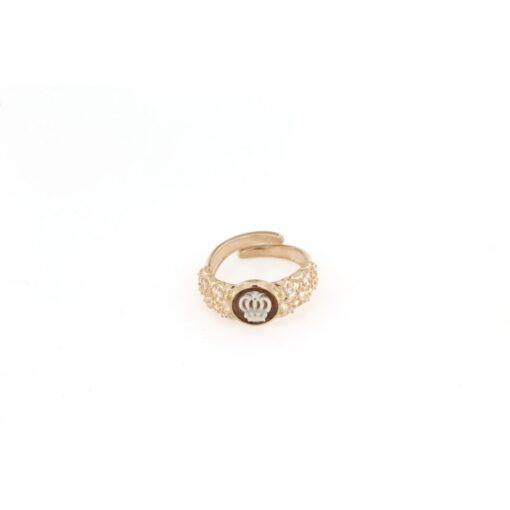 Anello regolabile fascia ricamata con cammeo sardonica in argento 925% corona-0