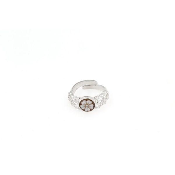 Anello regolabile fascia ricamata con cammeo sardonica in argento 925% fiore-0