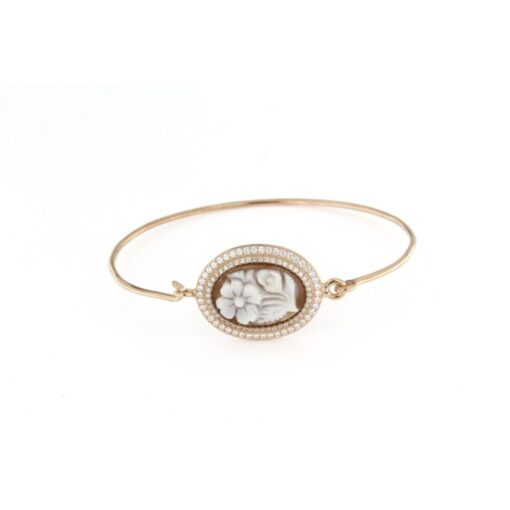 Bracciale rigido ovale in argento 925% con cammeo sardonica fiore-0