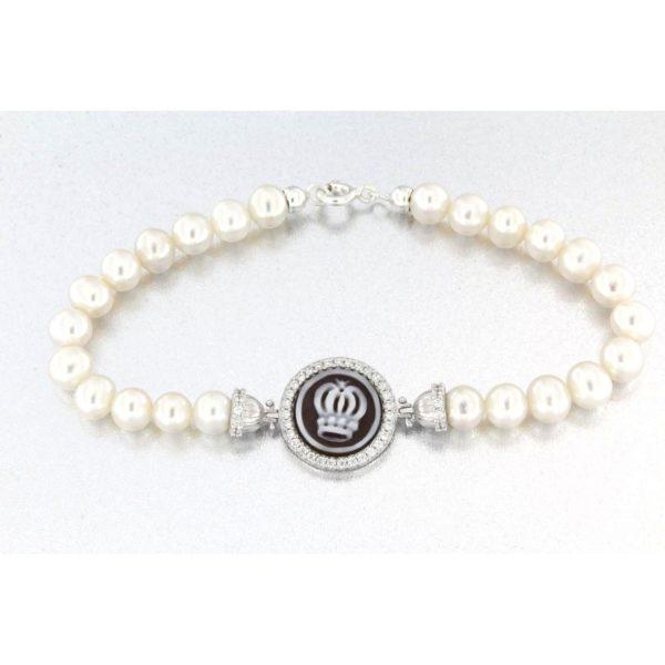 Bracciale con perla naturale e cammeo sardonica in argento 925% corona-0