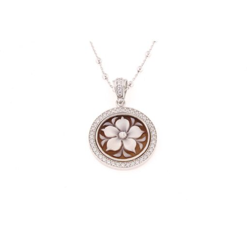 Ciondolo in argento 925% con cammeo sardonica fiore-0