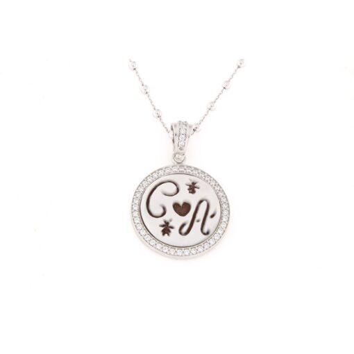 Ciondolo in argento 925% con cammeo sardonica lettere -0