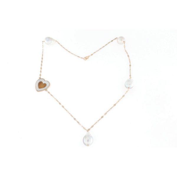 Collana in argento 925% con perle barocche e cammeo sardonica -0