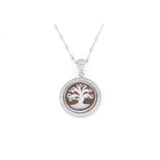 Ciondolo in argento 925% con cammeo sardonica albero della vita-0