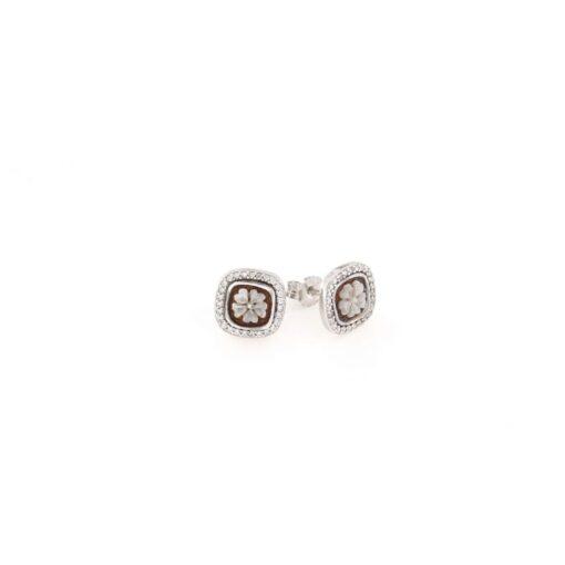 Orecchini a pressione quadrati in argento 925% con cammeo sardonica fiore-0