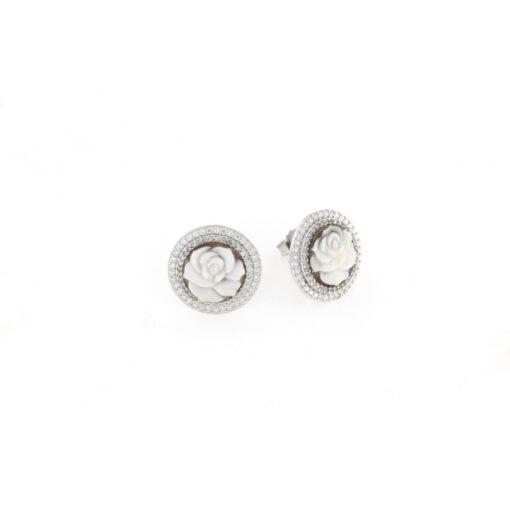 Orecchini a pressione in argento 925% con cammeo sardonica rosa-0