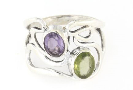 Anello traforato in argento 925 % ametista e smeraldo-0