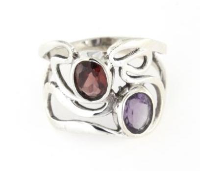 Anello traforato in argento 925% rubino e ametista-0