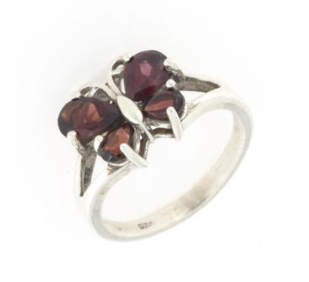 Anello regolabile in argento 925% farfalla rubino-0