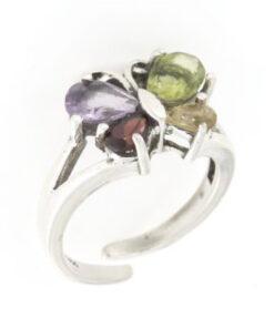 Anello regolabile in argento 925% farfalla color-0