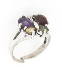 Anello regolabile in argento 925% farfalla multicolor-0