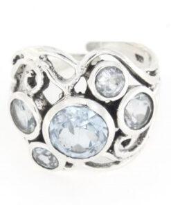 Anello traforato regolabile in argento 925% acquamarina-0