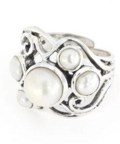 Anello regolabile traforato in argento 925% perla-0