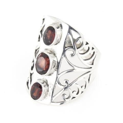 Anello fascione regolabile traforato in argento 925% tris rubino-0