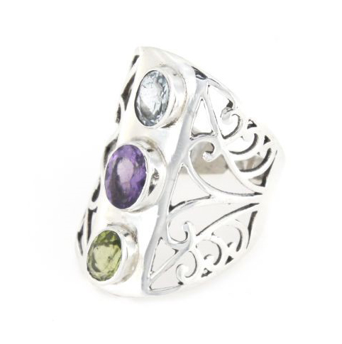 Anello fascione regolabile traforato in argento 925% tris color-0