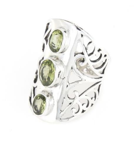 Anello fascione regolabile traforato in argento 925% tris smeraldo-0