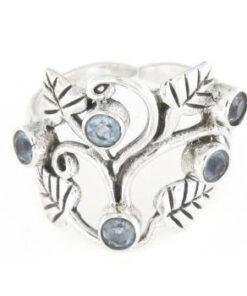 Anello regolabile traforato in argento 925% foglie-0