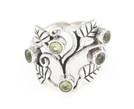 Anello traforato regolabile in argento 925% foglie -0