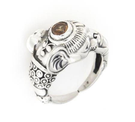 Anello ricamato regolabile in argento 925% elefante-0