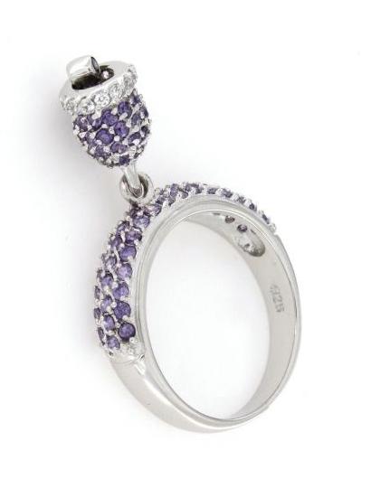 Anello in argento 925% con campanella lilla-0