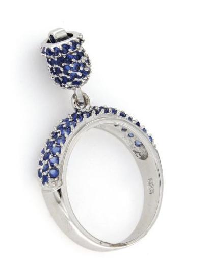 Anello in argento 925% con campanella blu-0