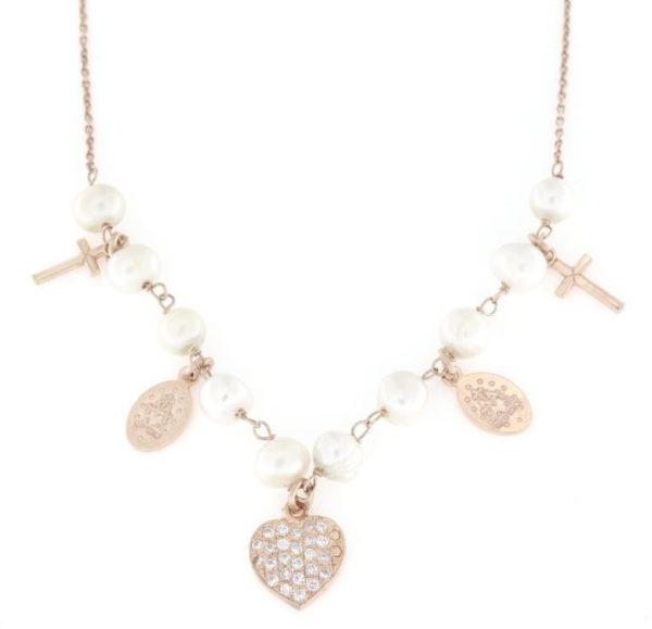 Collana regolabile in argento 925% pendenti e perle-0