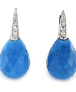 Orecchini monachina in argento 925% agata blu e zirconi bianchi-0