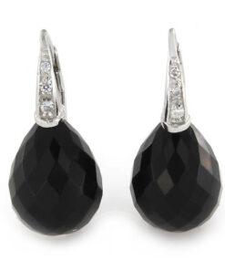 Orecchini monachina in argento 925% pietra di onice nera e zirconi bianchi-0