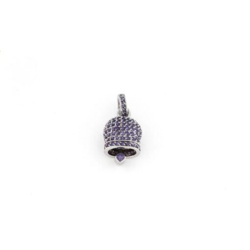 Ciondolo Campana in argento 925% viola-0